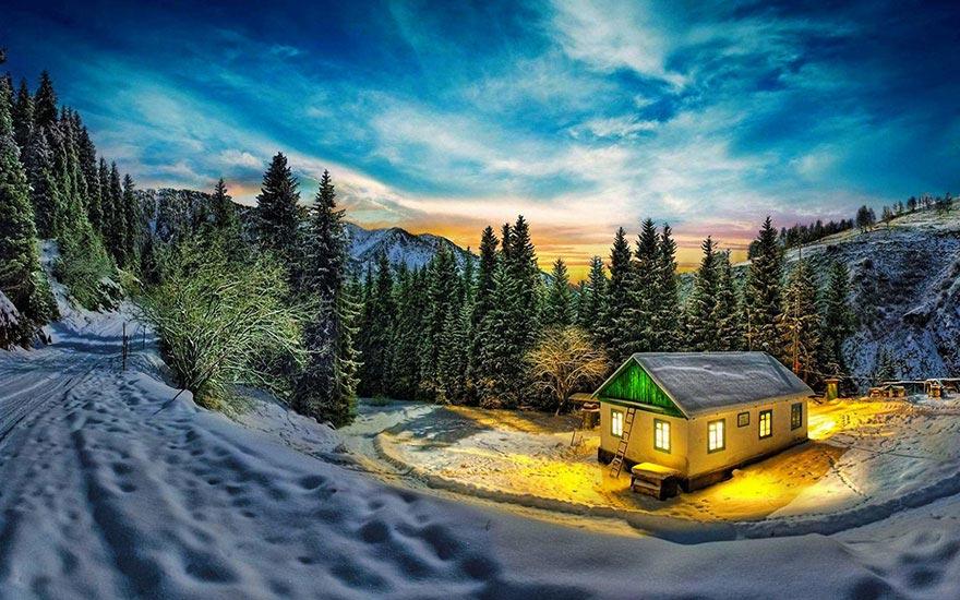 самых красивых фотообои домик в лесу зимой устраивает