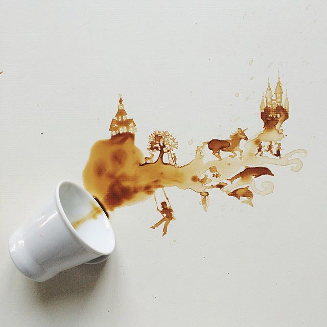 наказал за пролитый кофе