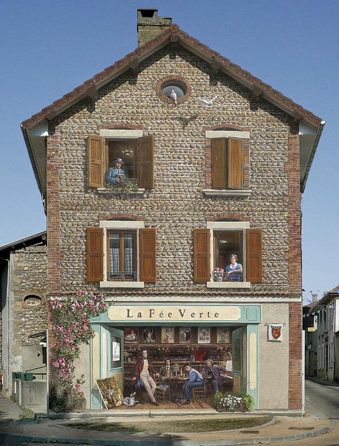 разукрашенные дома, Французский художник разукрашивает стены домов, Патрик Коммеси, Patrick Commecy