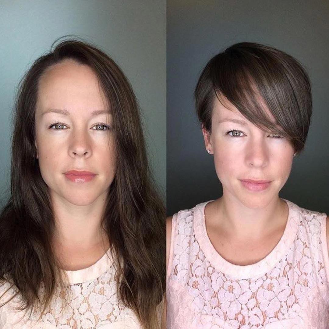коротко подстриглась фото до и после помощью
