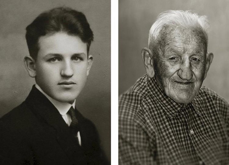 Ян Лангер, Jan Langer, Faces of Century, люди в молодости и после исполнения 100 лет